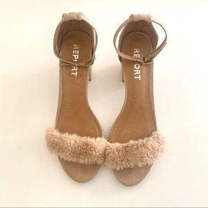 REPORT Blush Faux Fur Block Heel Sandals